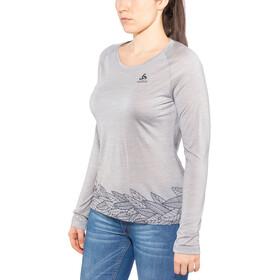Odlo BL Concord Maglia girocollo a maniche lunghe Donna, grey melange-leaves on waist print ss19